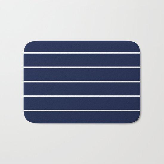 Indigo Navy Blue Pinstripes Bath Mat