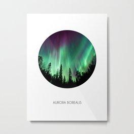 Aurora Borealis Northern Lights Circle Metal Print