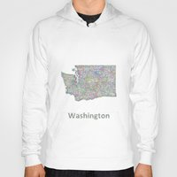 washington Hoodies featuring Washington map by David Zydd