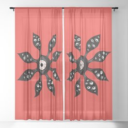 Creepy Witchy Evil Eye Monster On Red Sheer Curtain