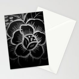 Flower carved on wood in black and white pattern Stationery Cards