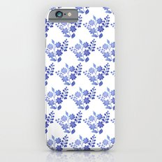 Blue floral pattern 3 Slim Case iPhone 6s