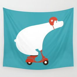 Polar bear on scooter Wall Tapestry