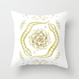 Golden Snakes Throw Pillow