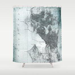Vintage Seattle City Map Shower Curtain