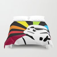 storm trooper Duvet Covers featuring After the Storm... Rainbow Trooper by qualitypunk