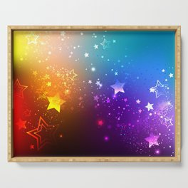 Rainbow Background with Stars Serving Tray