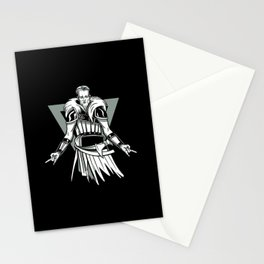 Heavy metal Viking with devil fork hands Stationery Cards