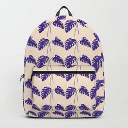 Indigo Monstera Leaf Watercolor on Blush Backpack