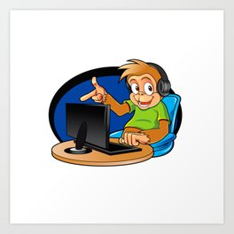 Monkey and the computer Art Print