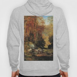 Cresheim Glen Wissahickon Autumn 1864 1 By Thomas Moran | Daytime Hike Watercolor Reproduction Hoody