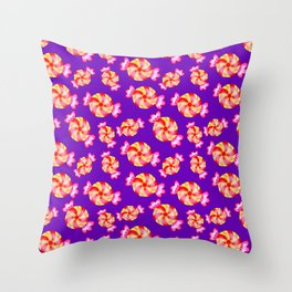 Cute lovely sweet festive decorative candy pattern on purple background. Candy store. Throw Pillow
