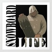 snowboard Art Prints featuring SNOWBOARD LIFE  by Robleedesigns