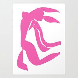 Woman Poster. PINK Nude Wall Art. Female Naked Print. Living Room Decor. Art Print