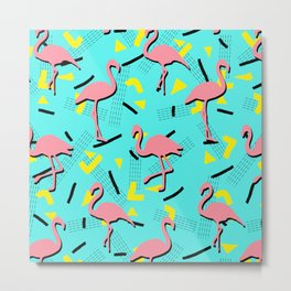 Flamingos Memphis #society6 #decor #buyart Metal Print