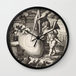 Vintage Cupid Etching Circa 1650 Wall Clock