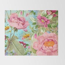 Vintage Flowers #18 Throw Blanket