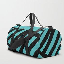 Black blue abstract stripes Duffle Bag