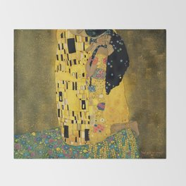 Curly version of The Kiss by Klimt Throw Blanket
