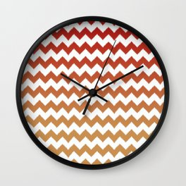 red cheveron ikat ombre Wall Clock