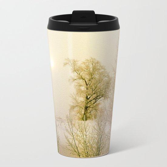 Golden Winter Forest Metal Travel Mug