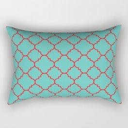 Quatrefoil - Turquoise & Red Rectangular Pillow