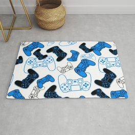 Video Games Blue on White Rug