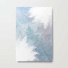 Fern Snowflakes - Taupe, Aqua & Blues Metal Print