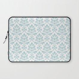 Feuille Damask Pattern Duck Egg Blue on White Laptop Sleeve