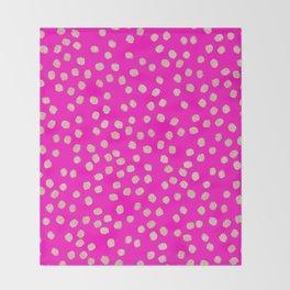 Modern rose gold glitter polka dots neon pink attern Throw Blanket