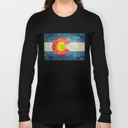 Colorado State Flag in Vintage Grunge Long Sleeve T-shirt