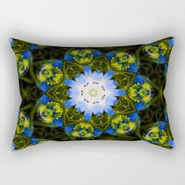 Kaleidoscopic Mandala Baby Blue Eyes Flower Rectangular Pillow
