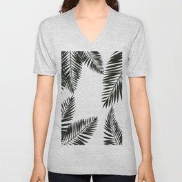 Black Watercolor Tropical Leaves Unisex V-Neck