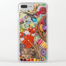 Vintage Yarn & Thread Clear iPhone Case