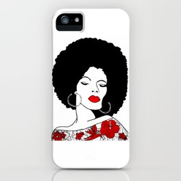 Red lips & Flowers iPhone Case