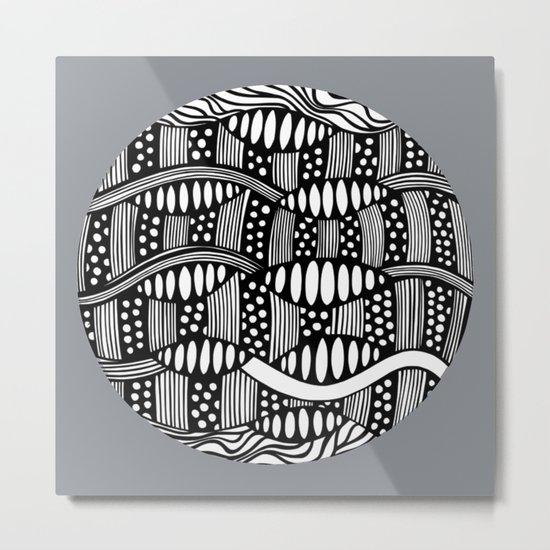 waves black and white Metal Print