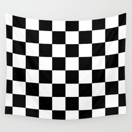 Black & White Checkered Pattern Wall Tapestry