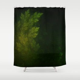 Beautiful Fractal Pines in the Misty Spring Night Shower Curtain