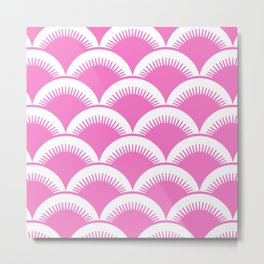 Japanese Fan Pattern Pink Metal Print