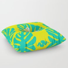 Pelican and monstera leaves Floor Pillow