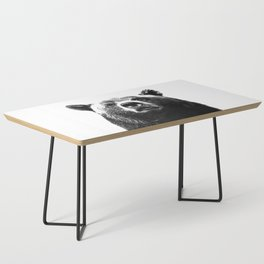 Black and white bear portrait Coffee Table