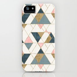 Mod Triangles - Pink, Blue, Gold by Crystal Walen iPhone Case
