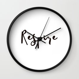 Breathe Print Square Black & white Respire Relax Meditation Art Inspire Yoga French Quote Typography Wall Clock