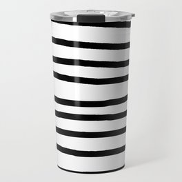 Simply Drawn Stripes in Midnight Black Travel Mug
