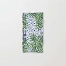 Moroccan tiles and palm leaves Hand & Bath Towel