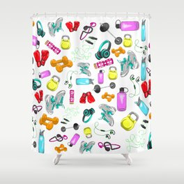 Work Out Items Pattern Shower Curtain