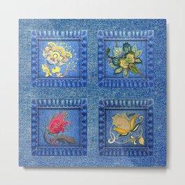 Denim Square Patches Metal Print