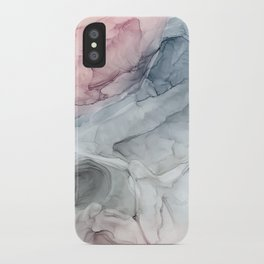 Pastel Blush, Grey and Blue Ink Clouds Painting iPhone Case