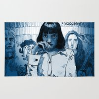 pulp fiction Area & Throw Rugs featuring Pulp Fiction - Mia Wallace by Rob O'Connor