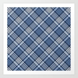 Navy Blue Plaid Art Print